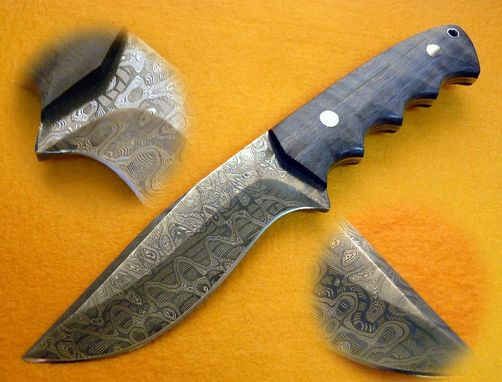 Custom Made Mike Norris Damascus Drop Point Hunter