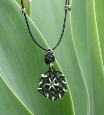Custom Made Necklace And Pendant: Circle Of Life Knot In Black With Silver Beads