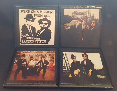 Custom Made Blues Brothers Ceramic Tile Coaster Set