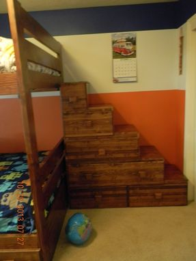 Custom Made Full Over Full Bunk Bed With Drawers And Stairs