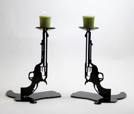 Custom Made Cowboy Candle Holders