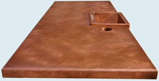 Custom Made Copper Countertop With Raised Sink & Trash Chute