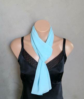 Custom Made Aqua Chiffon Scarf