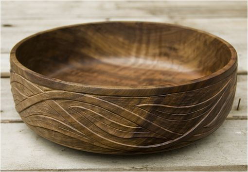 Custom Made Bowl - Walnut - Turned And Hand Carved