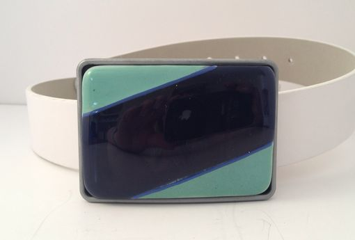 Custom Made Mint With Navy Blue Fused Glass Belt Buckle