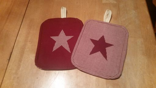 Custom Made Set Of 2 Primitive Potholders.