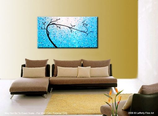 Custom Made Abstract Tree Painting, Original Blue Tree, Contemporary Fine Art, Acrylic Blue Landscape