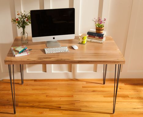 Custom Made Mid Century Modern Desk Featuring An Ambrosia Maple Wood Top With Hairpin Legs, Entry Way Table