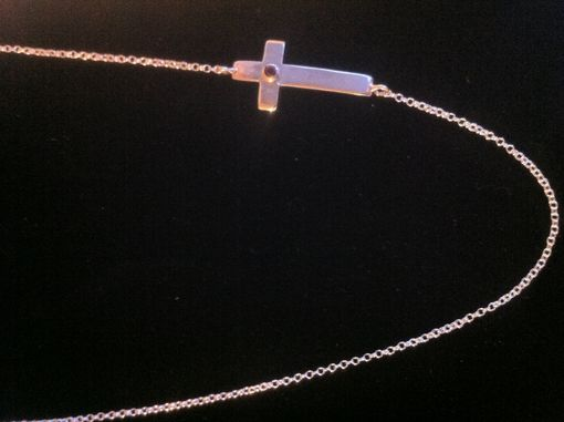 Custom Made Ruby  Cross Silver Necklace