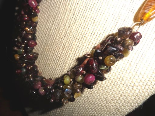 Custom Made Tourmaline, Smoky Quartz Cluster On Gold Filled Chain