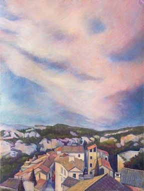 Custom Made Twilight Sky, Les Baux En Provence (French Landscape) - Fine Art Note Card Set Of Five
