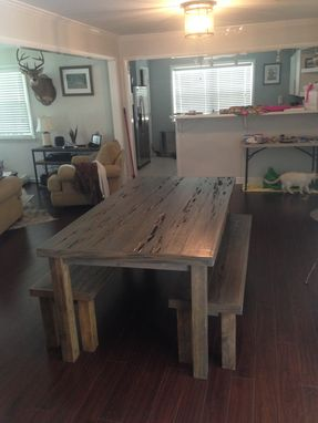 Custom Made Pecky Table And Bench!