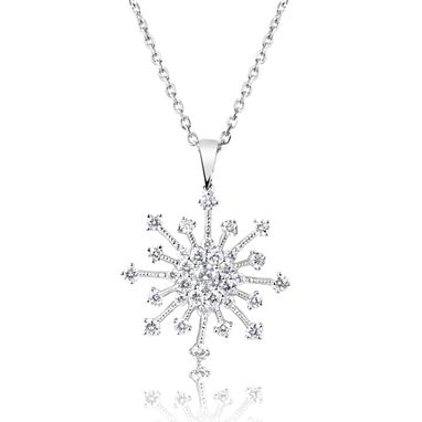 Custom Made Gold And Diamond Snow Flake Pendant