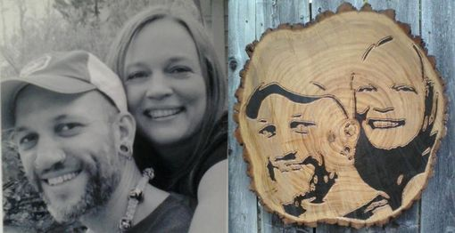 Custom Made Custom Hand Engraved Abstarct Wood Log Slab Portrait Of My Fiancee And I