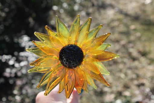 Custom Made Black Eyed Susan, Lampwork Hand Blown Glass Flower