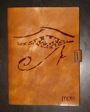 Custom Made Heavy Leather Ipad Mini Case - Eye Of Horus/Ra - Design By Brian Scott, Bsd Studios