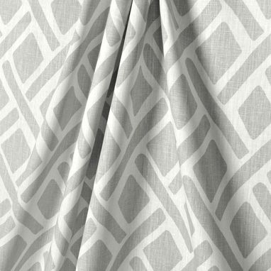 Custom Made Designer Custom Curtain Panels: Kravet Treads Asphalt Gray Grey Linen Geometric Diamond 96l X 50w
