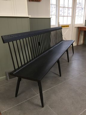 Custom Made Ebonized Spindle Back Bench