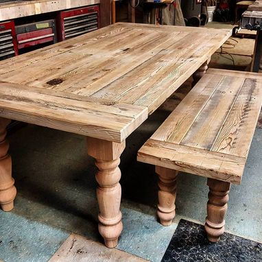 Custom Made Reclaimed Hemlock Farmhouse Style Table And Bench