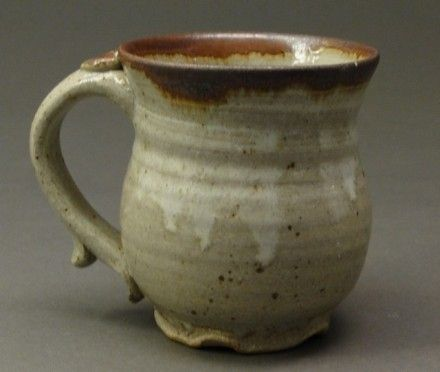 Custom Made Stoneware Pottery Mug With Wood Ash Nuka Glaze And Iron Accents That Are Rust Colored, (Sku 20)