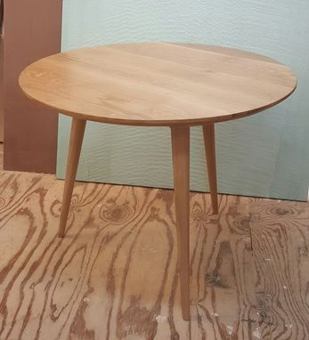 Custom Made Mid-Century Modern, Three-Legged White Oak Table