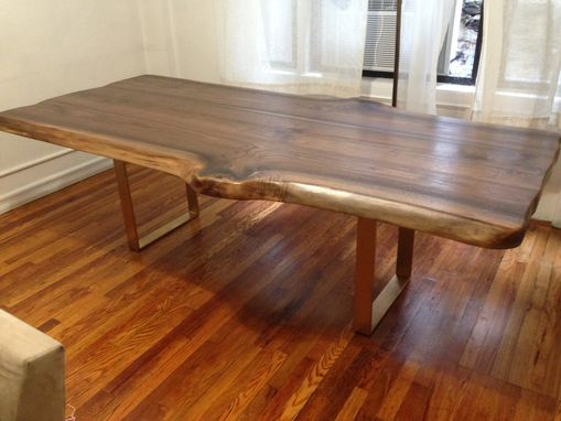 Custom Made Walnut Slab Live Edge Dining Table