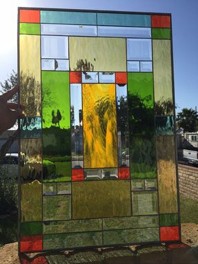 Custom Made Mission Style Stained & Beveled Glass Window Panel (We Do Custom Work