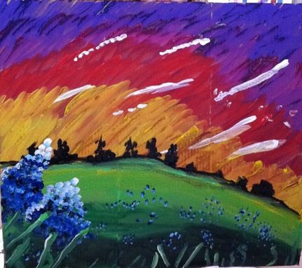 Custom Made Bright Abstract Landscape, With Blue Bonnets
