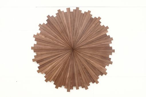 Custom Made Starburst Wood Wall Art, Made Of Black Walnut, Different Sizes Available, Mid Century