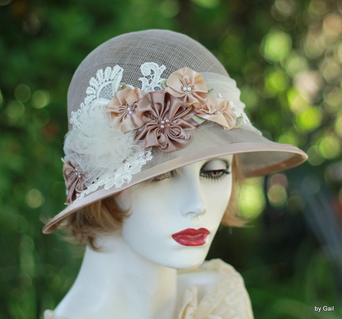 e37bbe20eb59be Custom Made 20'S Vintage Cloche Hat Garden Tea Party In Ivory Taupe Lace  And Flowers