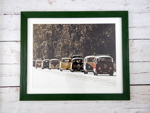 Custom Made Vinatge Vw Bus Caravan Framed Picture