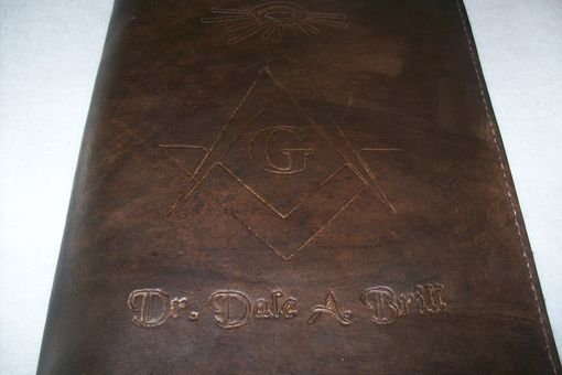 Custom Made Leather Portfolio With Masonic Symbol And Personalization