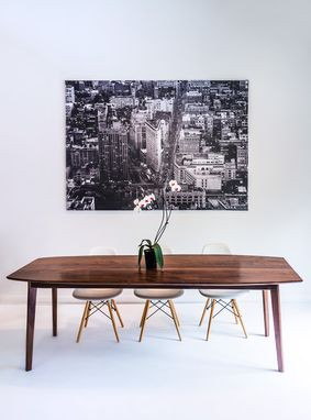 Custom Made The Santa Monica: Solid Black Walnut Dining Table, Mid Century Modern