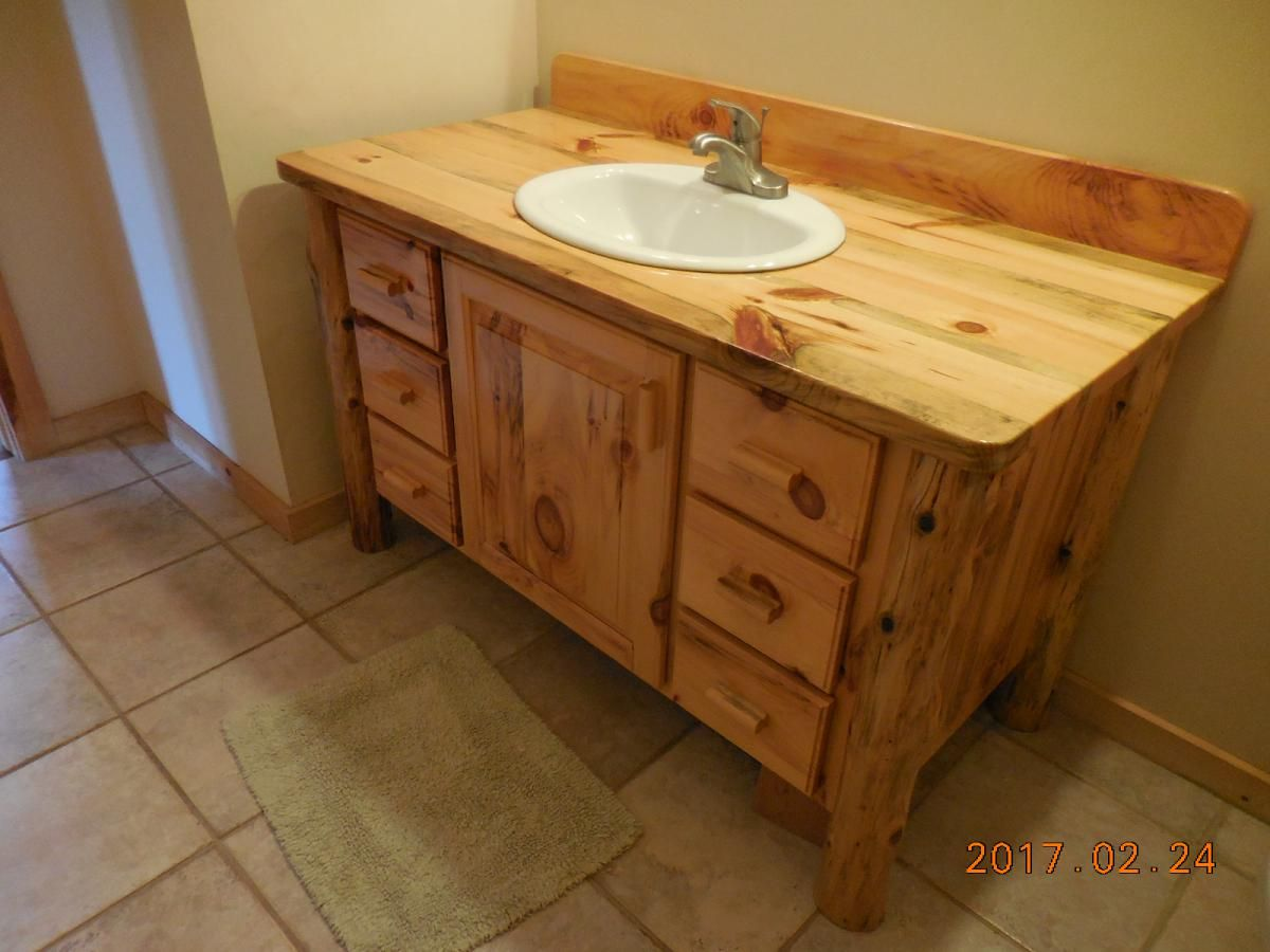 Hand Made Knotty Pine Bathroom Vanity By Harry's Cabin Furniture |  CustomMade