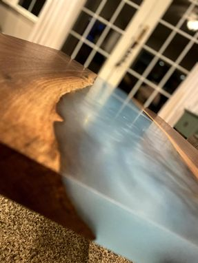 Custom Made Custom Hardwood And Epoxy Coffee Table