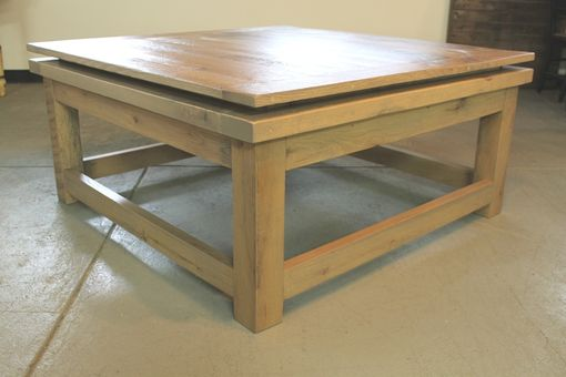 Custom Made Custom Square Oak Coffee Table From Reclaimed Oak