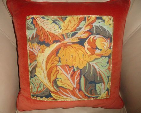 Custom Made Abstract Orange Needlepoint Pillow