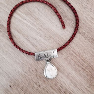 Custom Made Agate Druzy Quartz And Leather Necklace
