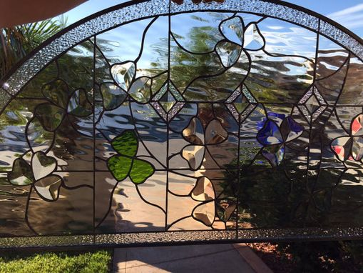 Custom Made Arched Beveled Shamrock And Waterglass Stained Glass Window