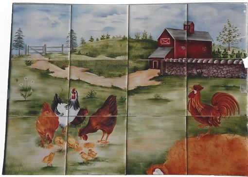 Custom Made Farm Mural With Chickens And Rooster.