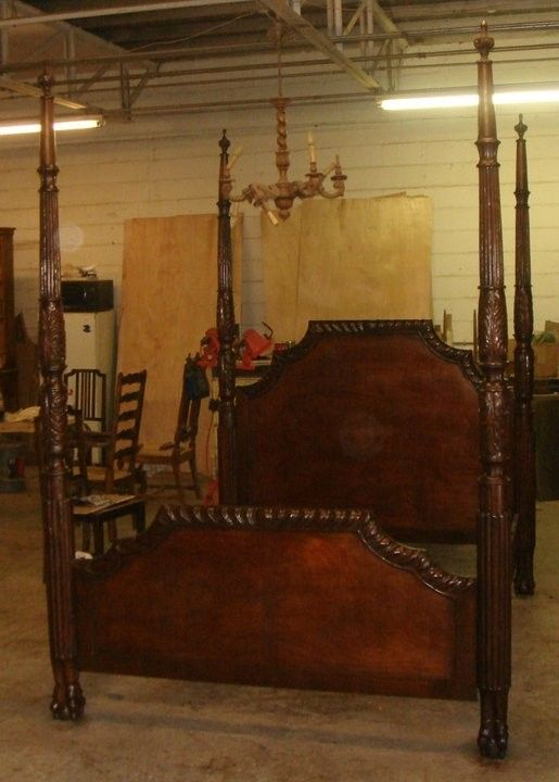 Hand Carved Bed: Handmade Custom Made Walnut Hand Carved Four Poster Bed