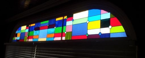 "Custom Made Stained Glass 3 Panel Set - ""Cubist Rainbow"" (P-28)"