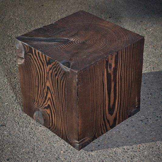 Hand crafted solid wood cube table by a r busch for Solid wood cube side table
