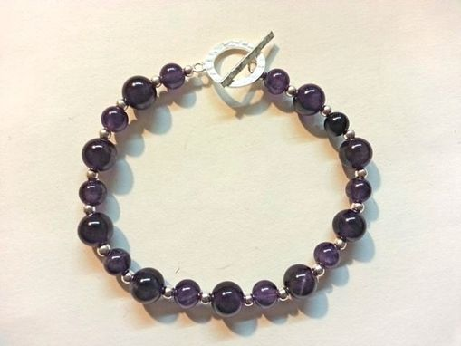 Custom Made Amethyst And Sterling Silver Bead Bracelet