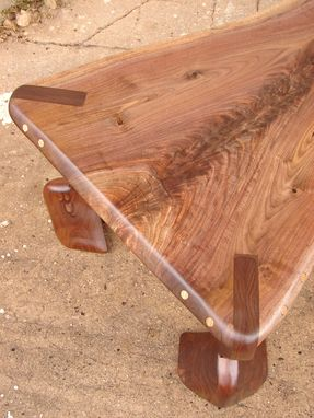 Custom Made Sculptural Mid Century Modern Walnut Live Edge Coffee Table Organic Chic Rustic Fantasy Furniture