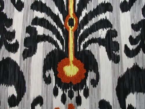 Custom Made Custom Designer Curtain Panels: Iman Home Punjab Peacock In Noir Black 72l X 50w