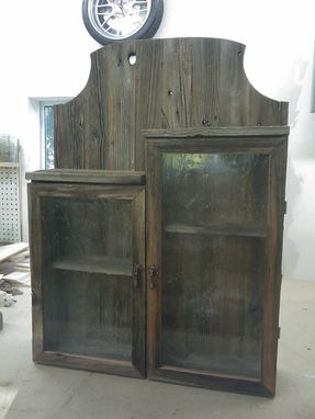 Custom Made Barnwood Storage Cabinet With Antique Bubble Glass