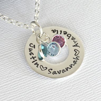 Custom Made Personalized Hand Stamped Mother's Necklace