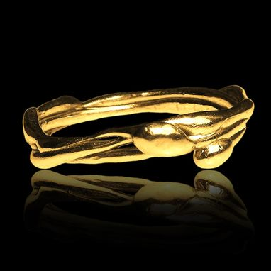 Custom Made Gold Or Silver Vine Branch Ring #8. Wedding - Stack Ring