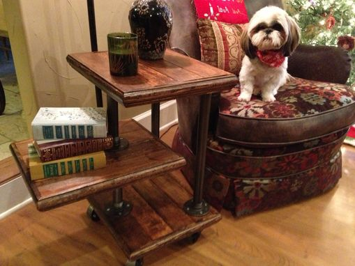 Custom Made Side Table Of Reclaimed Oak Flooring With Casters